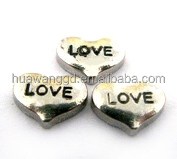 2014 the most popular metal love engraved floating heart charms