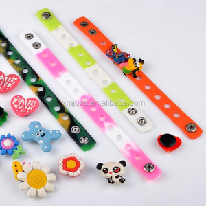 Fast shipping 2018 popular PVC Charms Silicone Bracelet With Metal Clasp/button