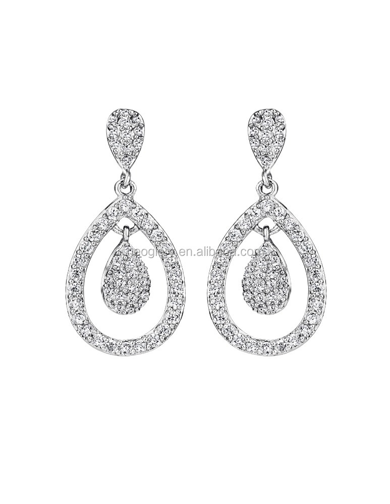 Promotional Chandelier Rhodium Plated Brass Drop Earrings Made With AAA Zirconia Stone