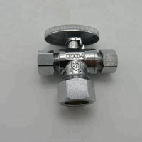 Green Valves double hole brass polished Mixer water valve manifold for bathroom