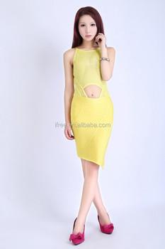 0480ca631b6b Sleeveless Sexy Night Dress Designer Yellow Cheap One Piece Party Dress