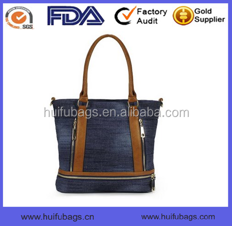 Oem tote style denim bags for girls Vintage top selling denim fabric bags for girls