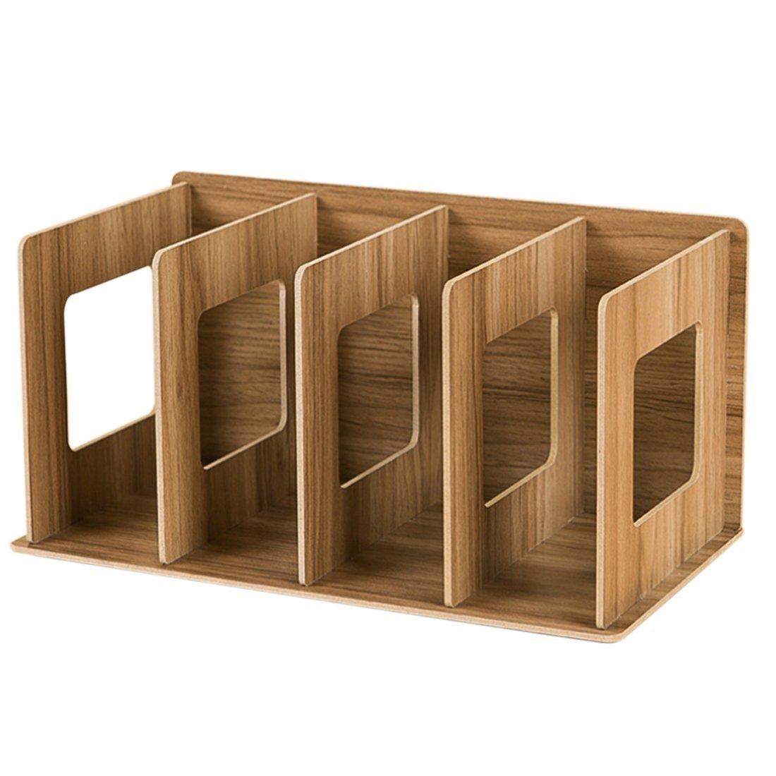 Desktop Storage Rack, XSHION Wood Office Supplies File Organizer Desktop Diy Storage Organizer Book Display Rack (Cherry Wood Color)