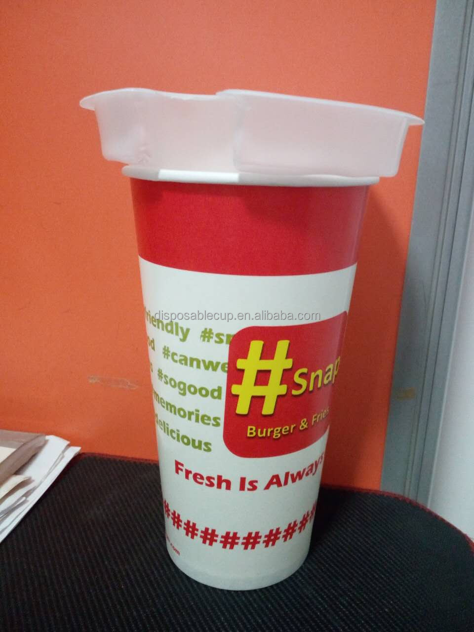 Custom Food Grade Disposable Paper Steak Cups With Lids