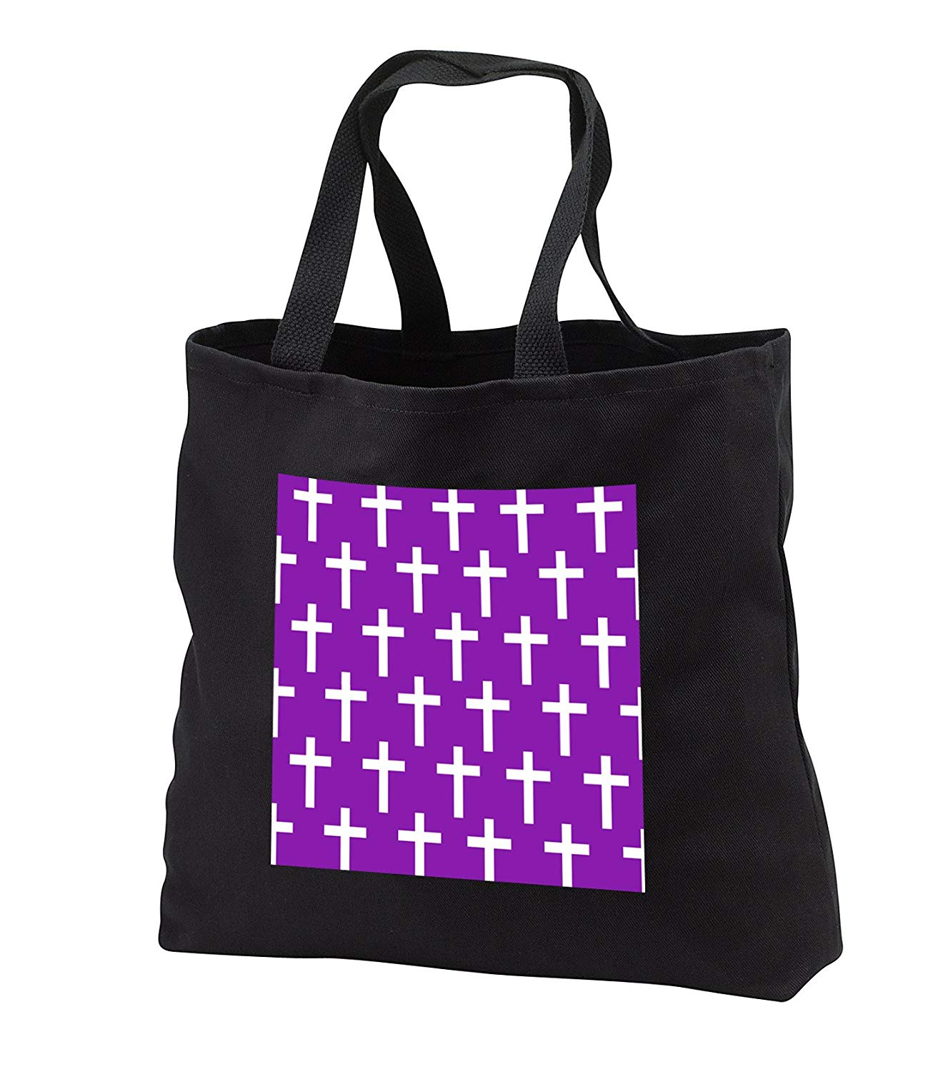 tb_185499 InspirationzStore Christian Designs - Purple Christian Cross pattern with white religious crucifix crosses - Tote Bags