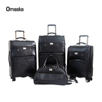 Four Wheels New Designer Hot Selling Luggage Black Leather Suitcase