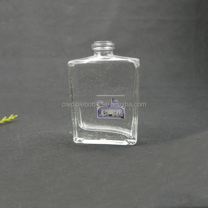 2 oz 60ml empty custom glass spray perfume bottle square shape