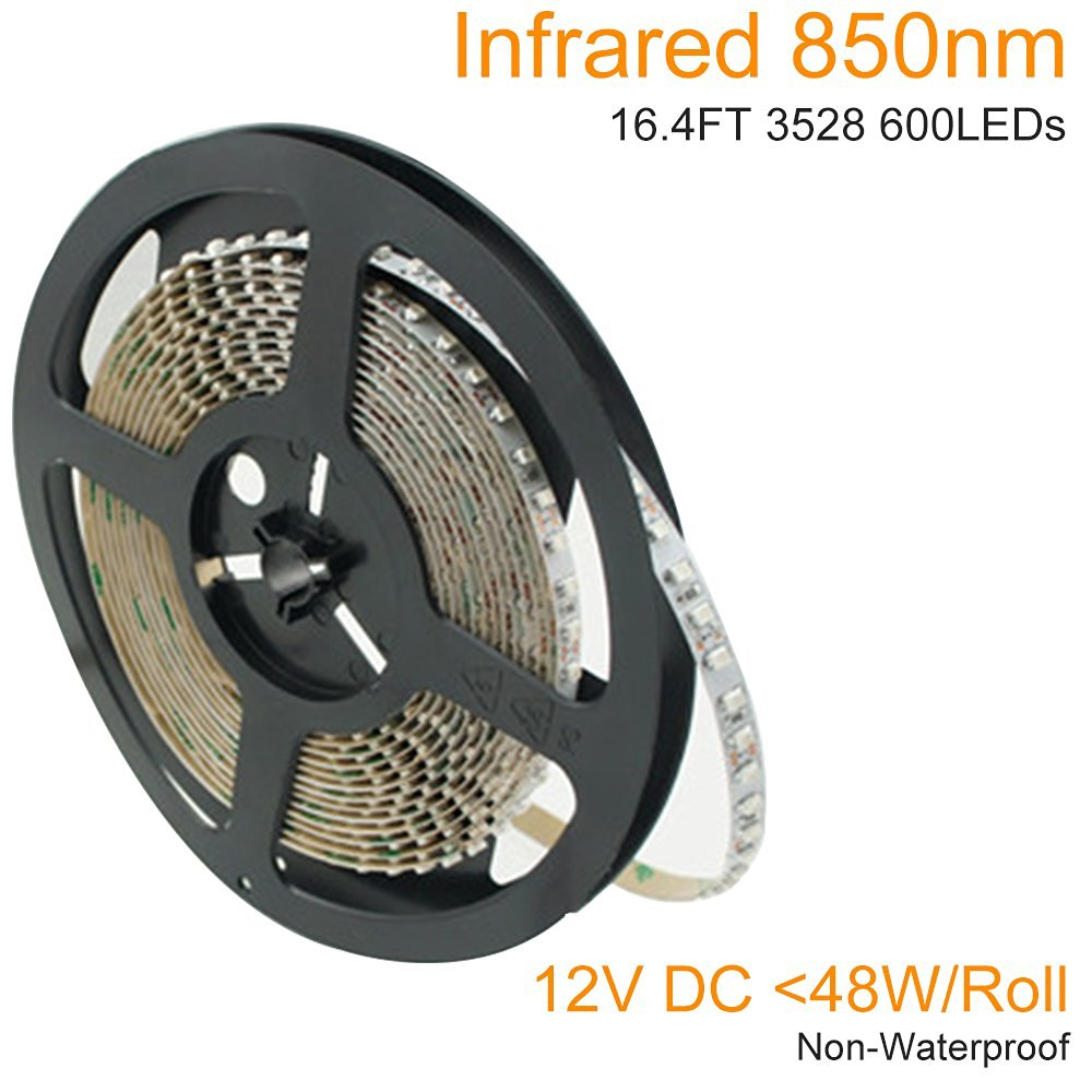 LightingWill DC12V 5M/16.4ft 48W SMD3528 600LEDs InfraRed 850nm High Intensity 8mm Wide Flexible IR 850nm LED Strip 120LEDs/M, Non-waterproof for Multitouch Screen, Night Light Application
