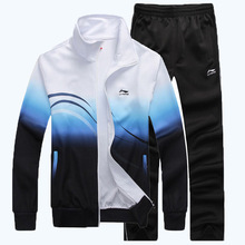 2014 Free shipping Spring and Autumn Sportswear suit men's Brand sports suit lovers cotton track suit
