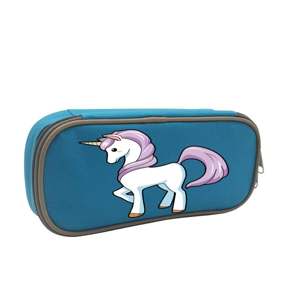 Unicorn Cool 3D Printed Large Capacity Student Pencil Case Portable Pouch Pen Case Multifunction Canvas Pencil Case with Double Zipper Storage Organizer for Kids Tteens