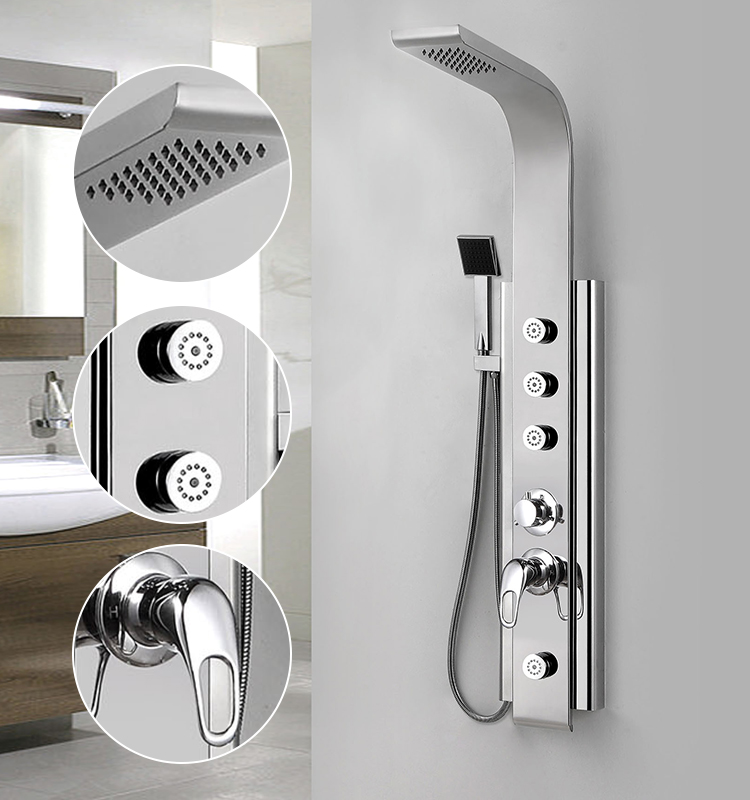 Modern Thermostatic Controling Massage Shower Panel With Hot And Cold Water Mixer Shower Wall Panels