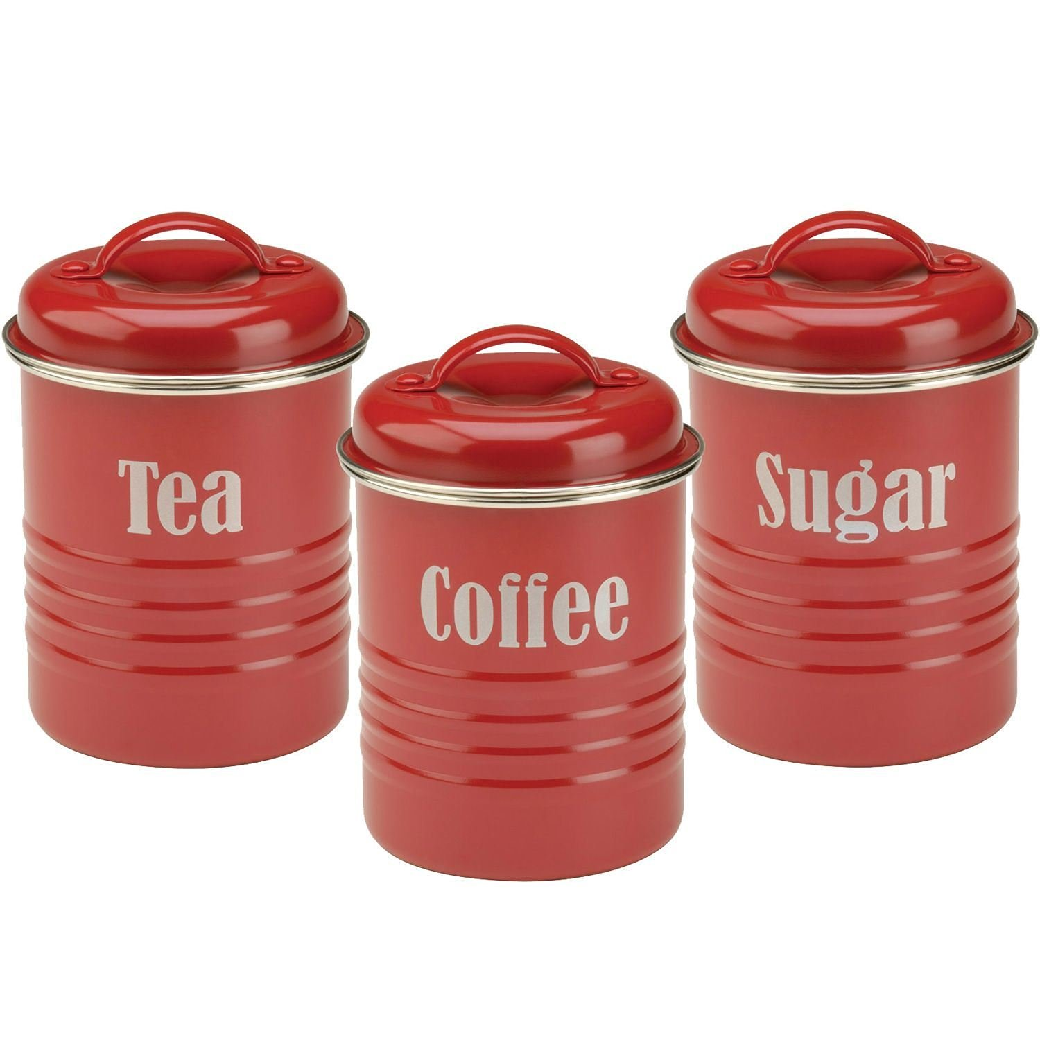Set of 3 Canister Colonial 1 Litre Red Coffee Tea and Sugar Airtight Sealed
