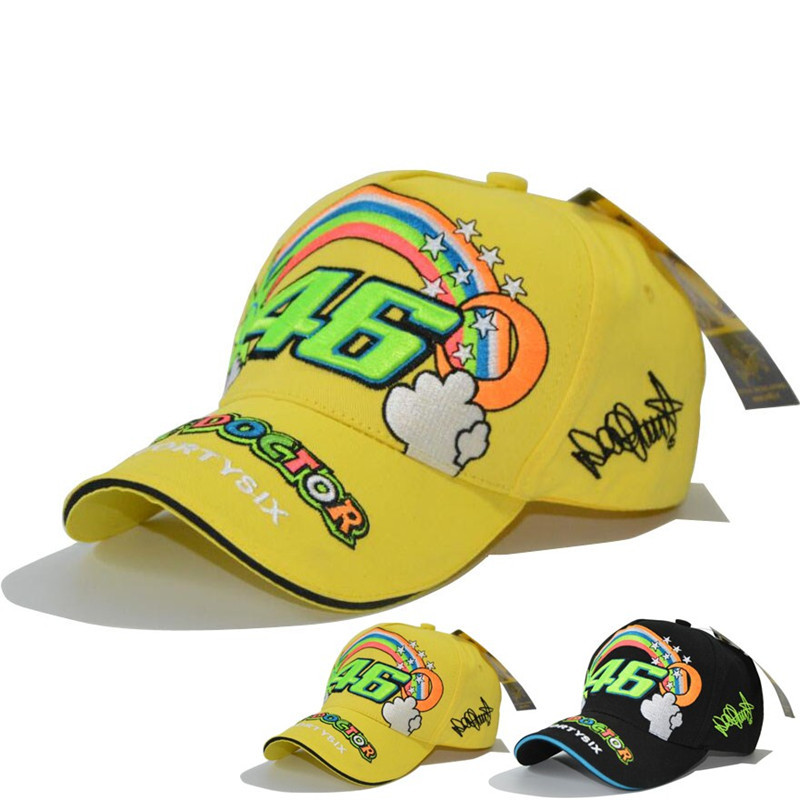 2017 New Design F1 Racing Cap Car Motocycle Racing MOTO GP VR 46 Rossi Embroidery Hiphop Cotton Trucker Baseball Cap Hat