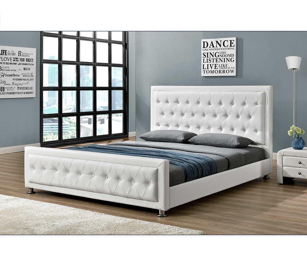 Modern Design With Button Bedroom Furniture Double/king Size Pu