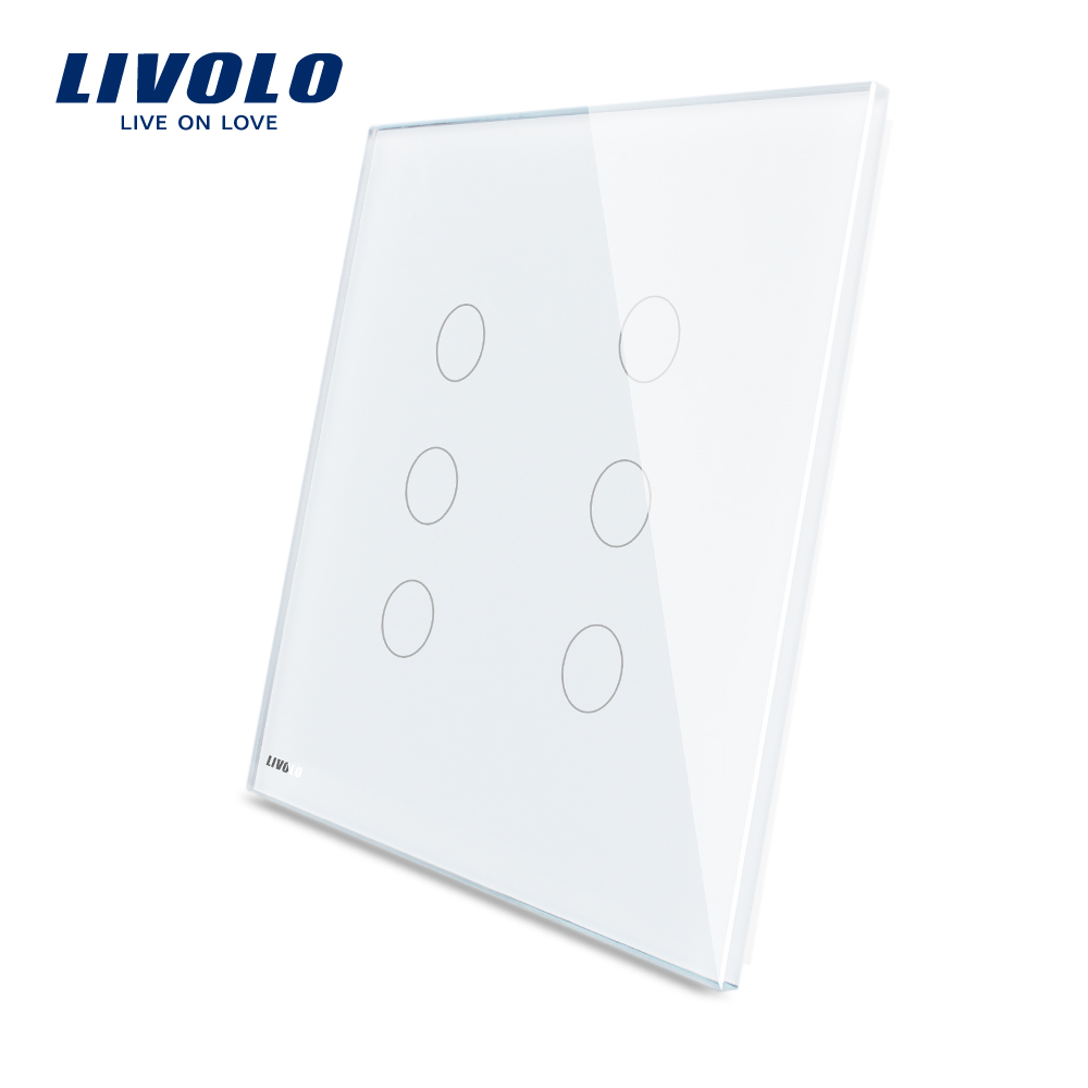 Livolo Smart US Standard Electrical White Crystal Glass 6 Gang 1 Way Touch Sensitive Light Switches