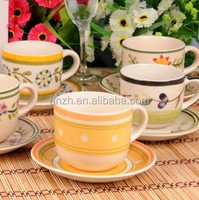 90cc 120cc 200cc 220cc 350cc wholesale ceramic personalized custom printed modern tea cups and saucers set