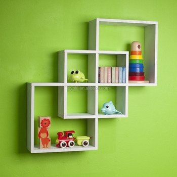 New Design Intersecting Squares Decorative Wood Cube Shelf Modern Wall