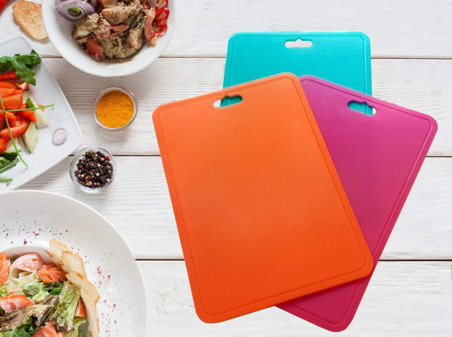 Pop Kitchen Products Presents Durable Plastic Colorful Cutting Boards Set Of 3. Heavy Duty Anti-Bacterial Board Perfect For Chopping, Cutting And All Food Prep For Professional Kitchens and Chefs