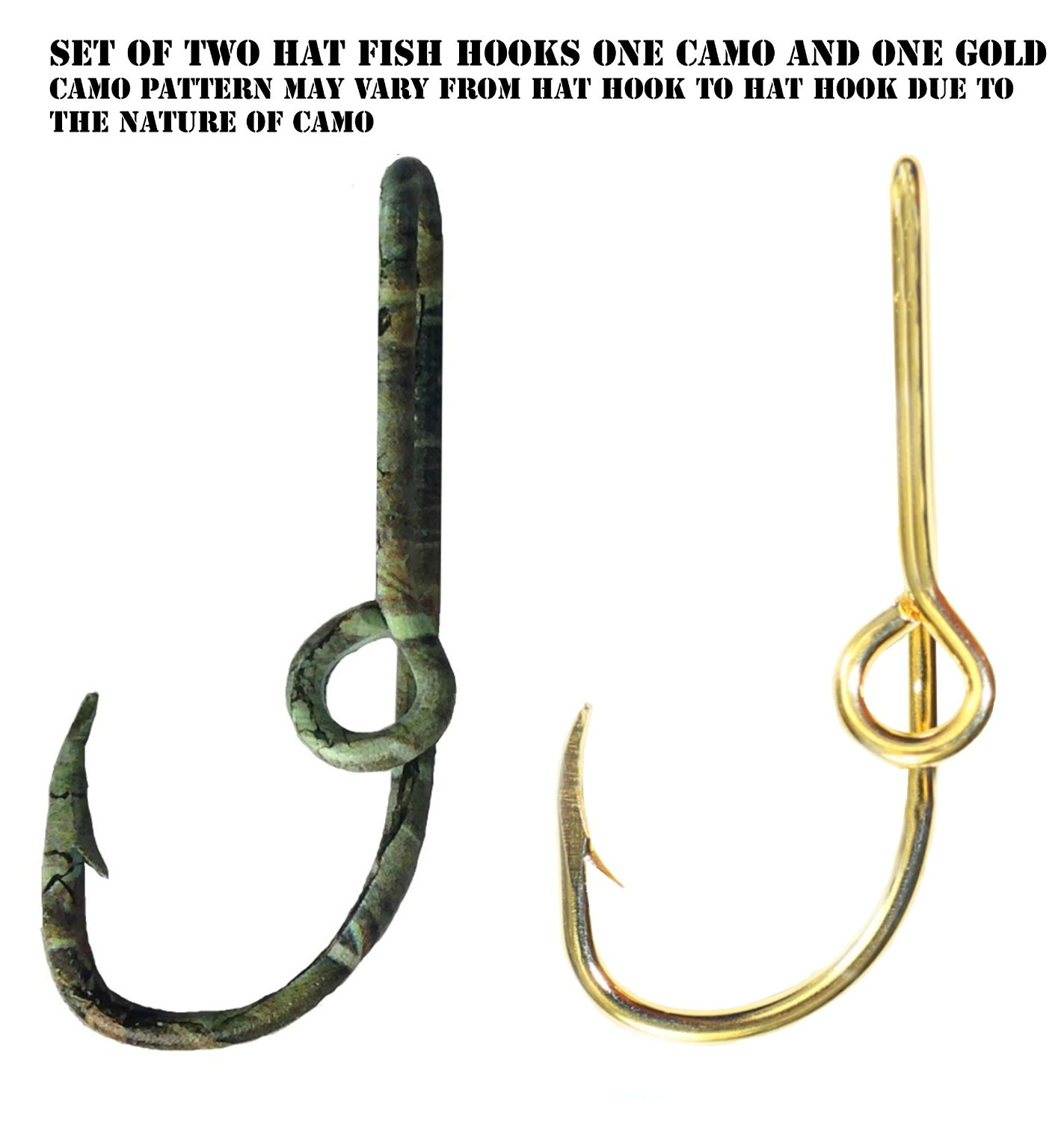 Two Fish Hook Hat Pins Camo and Gold Hat Hook Fish hook for Hat Camo Fish Hook Clip- Set of Two Hooks one Camo and one Gold
