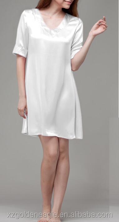 fa3e483c6 Camisola de seda branca simples de luxo-Sleepwear das mulheres-ID do ...