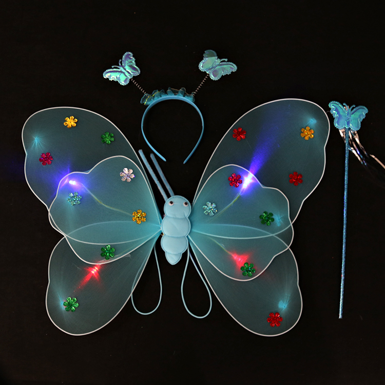 Best produckt Double layer luminous fairy butterfly wings Halloween costume butterfly wings