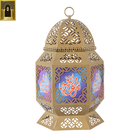Home Decoration Glass Candle Holder Industrial Custom Printed Size Decorative Fancy Glass Metal Iron Lantern Light Dubai Large Moroccan Candle Holder