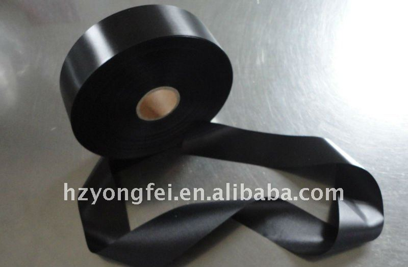Black polyester satin ribbon/ printed label