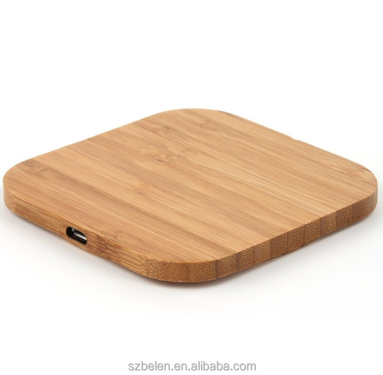 Wireless Phone Charging Station Wood Bamboo Wireless Charger Qi Portable Charger