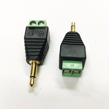 Green Male 3.5mm audio mono connector to terminal block