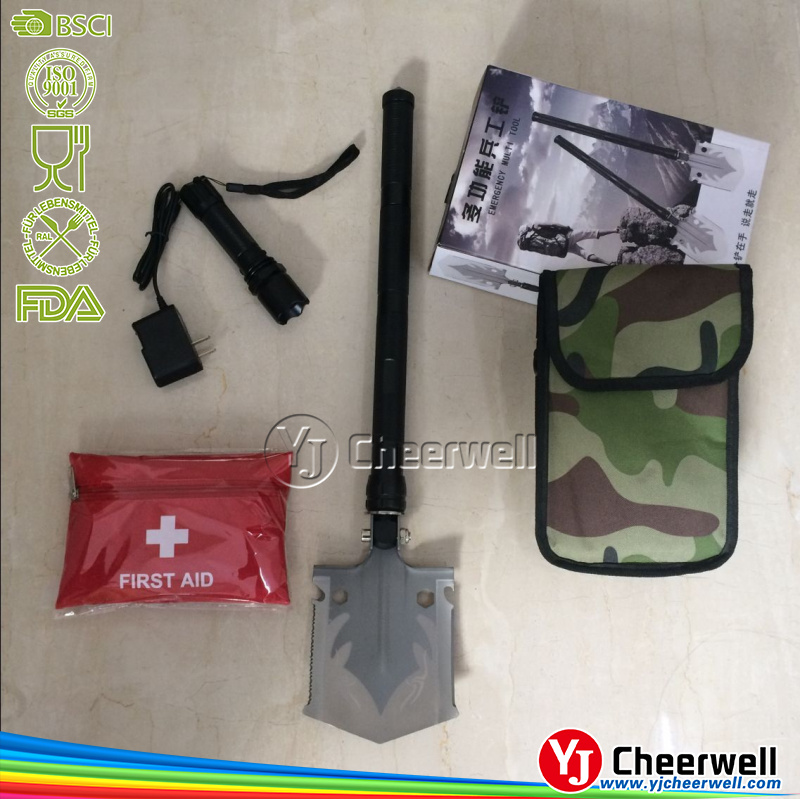 Emergency Multi Tool Folding Shovel With First Aid Bag