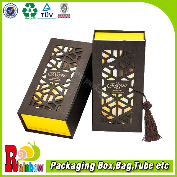 customized laser cut window saffron tea black packaging boxes