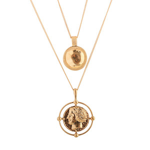 Luxury Religion Queen Head Coin Pendant Necklace Gold Tone Double Layer Head Profile Coin Pendant Necklace