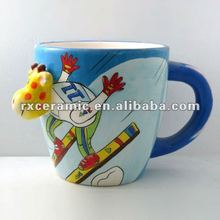 giraffe skiing mugs, 3D ceramic children mugs, handpainted ceramic animal mug