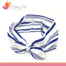 New Baby Stripe Printed Top Knot Headband for Girl Hair Fashion Flower Baby Turban Headband Girl Cotton Head