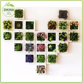 2017 Hottest ~ 15*15cm Moss Wall Art Succulent Flowers Hanging Home Garden  Decorative Artificial
