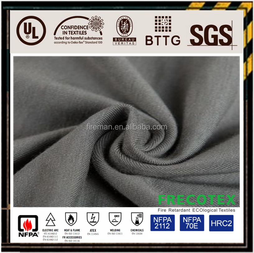 interlock knitted fire retardant fabric 250g 100% cotton for safety sweater