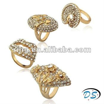Fashion Chic Gold Big Ring Clear Couture Chunky Steampunk Rings