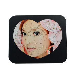 Customized sublimation wooden plain Jigsaw Puzzle with black standing frame