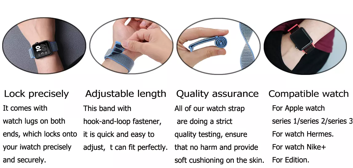 Woven Nylon Sport Loop band For Samsung, Lightweight Wristband For apple watch 42 mm band