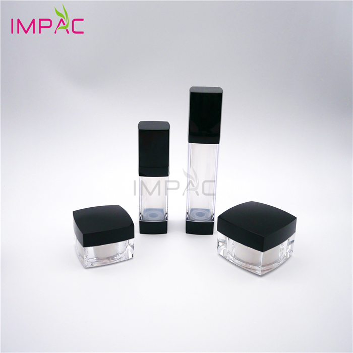 Black Cap Empty Skin Cosmetic Set Packaging for Skin Cream and Emulsion