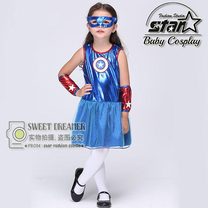 Girls Captain America Leather font b Dress b font Superhero font b Fancy b font font