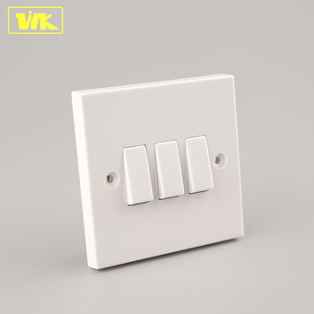 Wk Square Edge 10ax 3 Gang 2 Way Iec 60669 Electrical Wall Switch Plate Light
