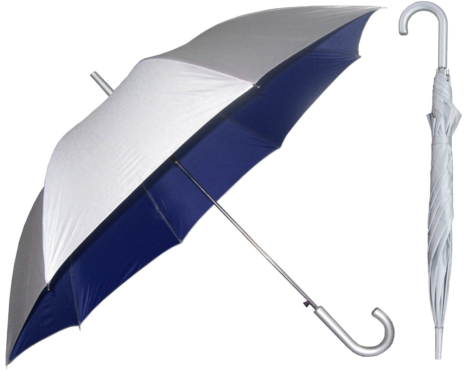 Silver Sunblock Umbrella with Navy Blue Lining - UV Protection Umbrella for Rain or Sun