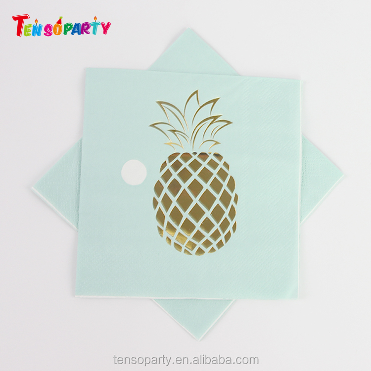Hot Stamping Pineapple Foil Printed 1/4 Folded Customed Fancy Paper Napkin