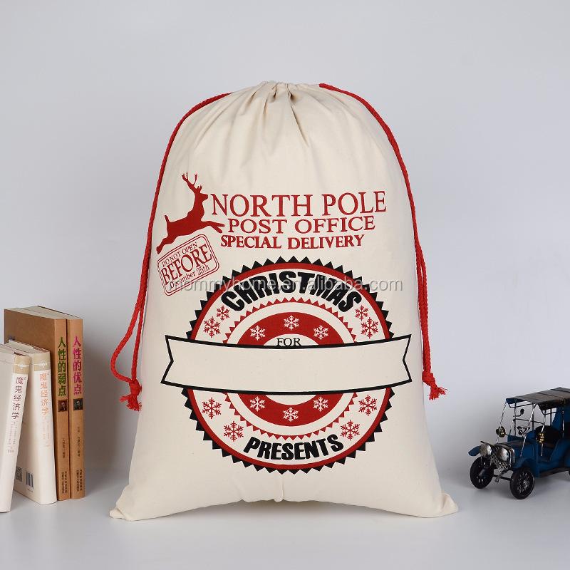 Neueste Leinwand Santa Sack Tasche Mit Kordelzug Mode ...