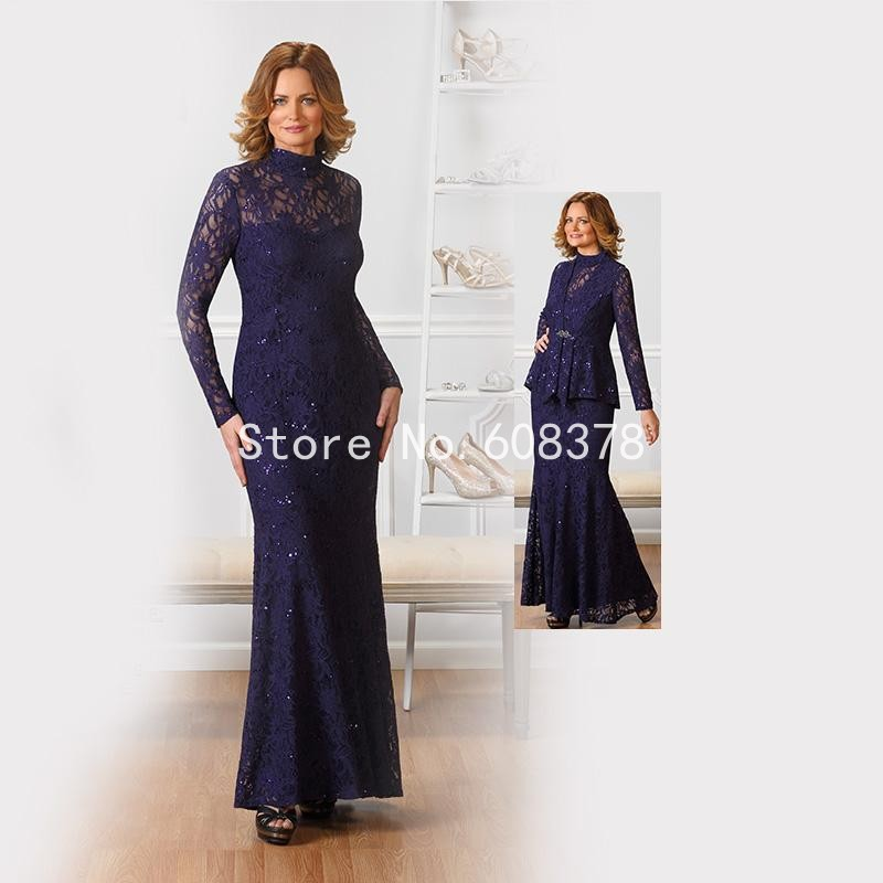 2016 Lace Mermaid Mother Of The Bride Dresses Groom: 2016 With Jacket Lace Vintage High Collar Mermaid Mother