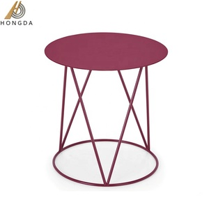 Popular Living Room Furniture Round Steel Tray Centre Small Side Coffee Table Metal Type Tea Table