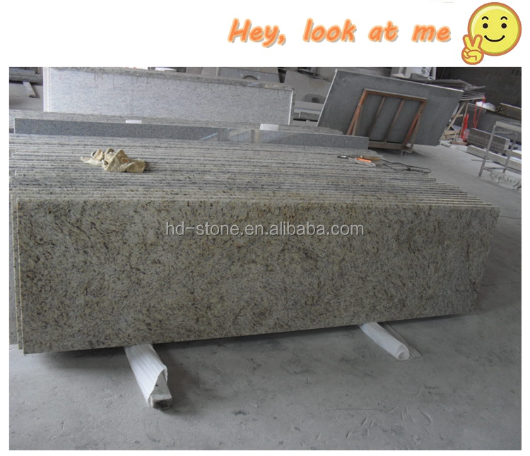 Brazil Giallo Ornamental Yellow Granite Countertops Island for Kitchen Bathroom with Laminated Ogee Bullnose