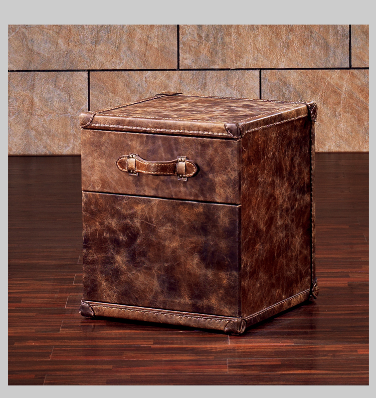 Bedroom furniture bedside table leather wood night stand with drawer trunk loft industrial vintage furniture