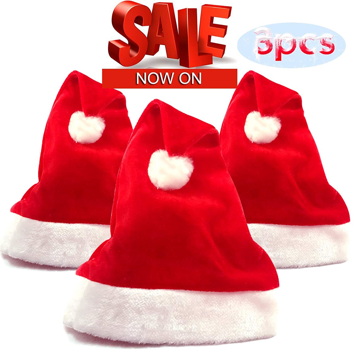 8fdfaaeb9a03a Get Quotations · aingycy Christmas Santa Hat Festive Holiday Hat Christmas Hat  Red Velvet Santa Hats for Adults and